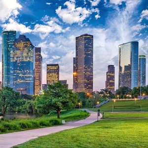 Houston Texas downtown cityscape with park in foreground