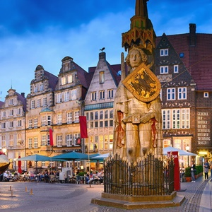 Town square in Bremen, Germany. People socialising in the square.